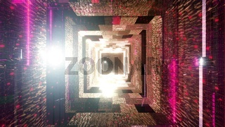 Cool red neon lights space ship 3d illustration tunnel background wallpaper