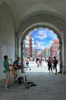 Musicians earn their living by playing guitar and saxophone in Gdansk