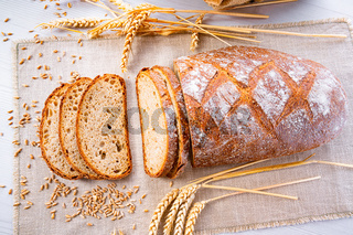 Delicious mixed rye bread, also called gray bread