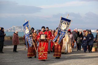 Pomorie, Bulgaria - January 06, 2020: Epiphany in the town of Pomorie. Epiphany is a Christian feast day that celebrates the revelation of God incarnate as Jesus Christ.