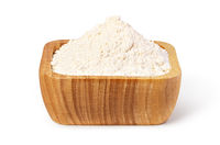 bowl of flour on white background