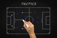 Football tactics coaching using chalk black board to explain team strategy - Soccer player match formation tactical game plan of attack - Hand of teacher explaining players roles and responsibilities