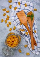 Italian pasta made from durum wheat.