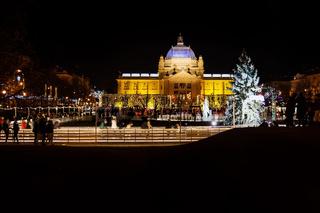 Zagreb, Croatia: Decemer 30 2015: Ice skating rink at Pavillion at night
