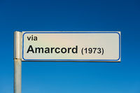 Sign of Amarcord street in Rimini