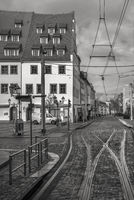 Old town tracks in the Zwickau city centre