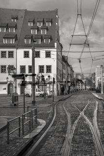 Altstadtgleise in der Zwickauer Innenstadt