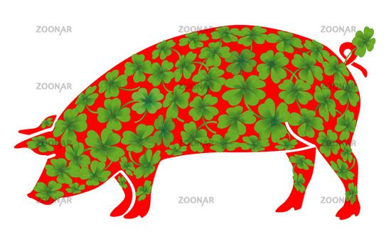 Lucky pig with lucky clover