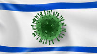 Coronavirus Model on the background of Israeli flag.