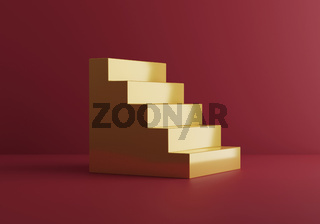 Golden stairs on red studio background. 3d render. Treasury bank investment. Career path. Stage for products and jewerly.