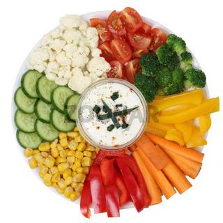 Vegetarischer Gemüse Teller mit Dip