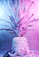 Collage with ananas in vibrant bold gradient holographic colors in a creative concept art style. Creative colorful neon image with pineapple. Zine culture. Pop art pattern and surreal style poster.