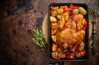 Whole roasted chicken or turkey with pumpkin, potatoes, red pepper and rosemary.