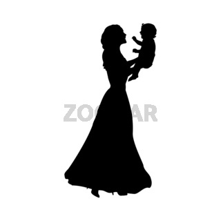 Silhouette happy mother holding newborn baby