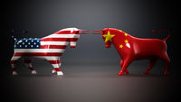Bulls with American and Chinese flags facing each other on dark background. 3D illustration