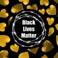 Black Lives Matter Banner with Barbed Wire for Protest Isolated on Black Background