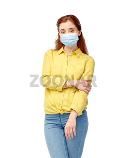 young woman in protective medical mask
