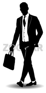Black and white silhouette of a man in a business suit
