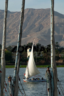 A Felucca sail boat on the River Nile at Luxor, Egypt