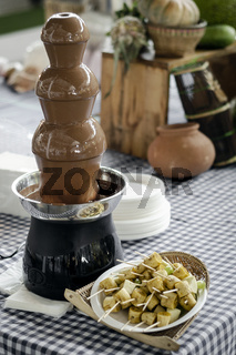 chocolate fountain catering machine with fruit skewers on buffet table