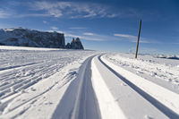 winter on the Seiser Alm in the dolomites in Italy