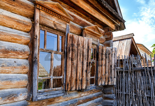 Traditional vintage russian timber house