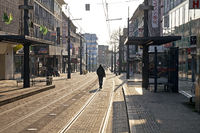 Europe, Germany, North Rhine-Westphalia, Witten, deserted city center, corona crisis, March 2020