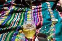 Fresh green tea on picnic blanket