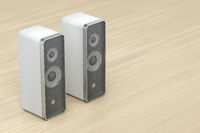 White stereo computer speakers