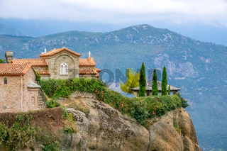 Greek Meteora and a Gazebo on the Top of the Hill in the Evening