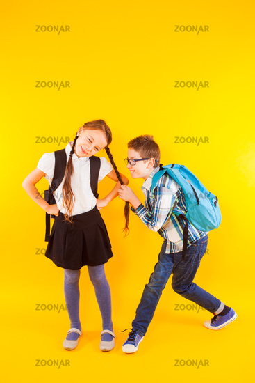 Nice mood among the elementary school pupils