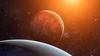 Extrasolar planet. Earth-like exoplanet. Element of this image furnished by NASA