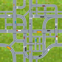 Different road junctions on grass background with cars, top view seamless pattern