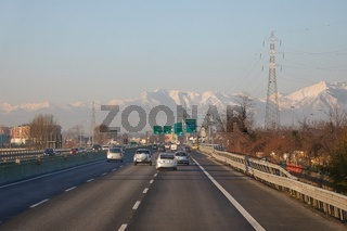 Highway in Italy, passing close to Torino