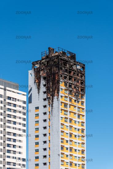 Fire damaged apartment skyscraper in Madrid, Ambar Tower.