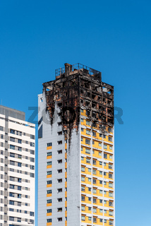 Fire damaged apartment skyscraper in Madrid, Ambar Tower.