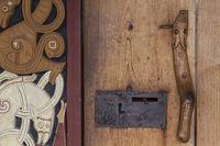 Detail of a historic wooden door