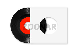 45rpm single vinyl record with red label and white sleeve on white with clipping path