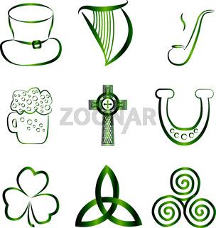 Set of Irish stickers outline