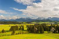 panorama landscape in Bavaria with Karwendel mountains