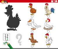 shadows task with cartoon farm birds animal characters