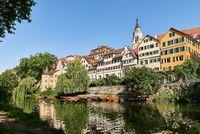 City View of Tuebingen from River Neckar with Hoelderlin Tower, Germany