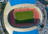 Top view of football soccer stadium