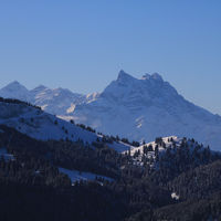 Dents du Midi in winter seen from Isenau, Switzerland.