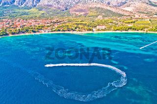 Orebic on Peljesac peninsula waterfront summer speed boat aerial view