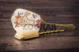 decorative hair brush and hand mirror