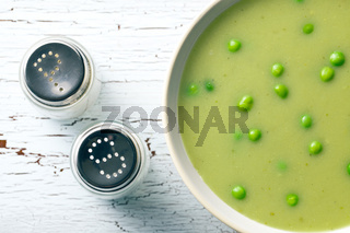 pea soup and salt shaker