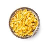Gnocchi, raw italian pasta. Dried pasta in bowl