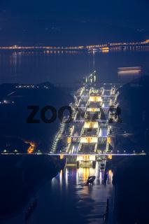 three gorges ship lock in evening