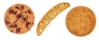 Cookies set, isolated on a white background. Chocolate chip cookie, biscotti and a gingersnap